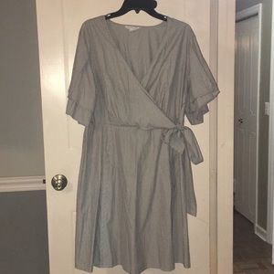 Pin striped,a line v neck dress from JCP